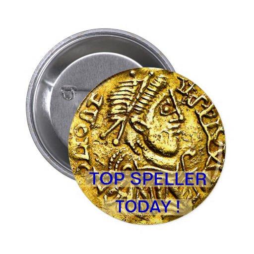 Top Speller Today Gold Coin Medal Button