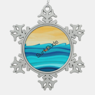 TOP Surf Dude Snowflake Pewter Christmas Ornament