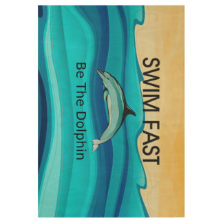 TOP Swim Dolphin Fast Wood Poster