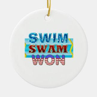 TOP Swim Swam Won Ceramic Ornament