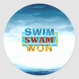 TOP Swim Swam Won Classic Round Sticker
