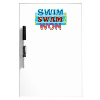 TOP Swim Swam Won Dry Erase Board