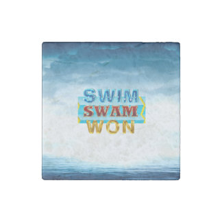 TOP Swim Swam Won Stone Magnet