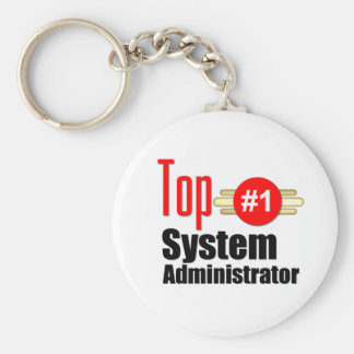Top Systems Administrator Basic Round Button Key Ring