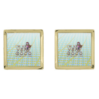 TOP Very Good at What I Do, Tennis Gold Finish Cufflinks