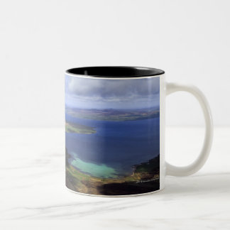 Top view: burra sound, graemsay & orkney mainland Two-Tone coffee mug