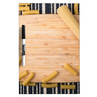 Top view food background made of thin spaghetti Dry-Erase board