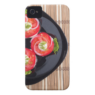 Top view of a dish with fresh sliced tomatoes iPhone 4 case