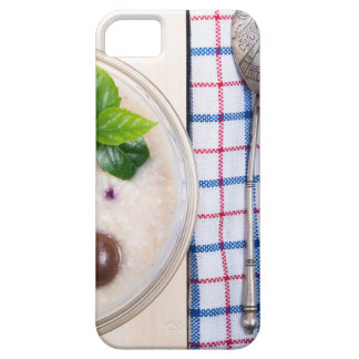 Top view of a healthy dish of oatmeal in a bowl case for the iPhone 5