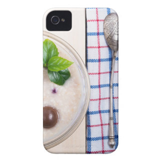 Top view of a healthy dish of oatmeal in a bowl iPhone 4 case