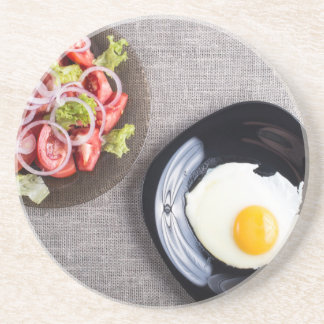 Top view of a healthy homemade breakfast of egg beverage coasters