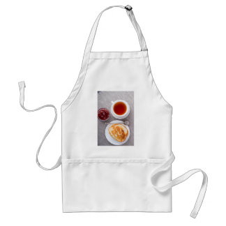 Top view of a plate of hot pancakes with vintage standard apron