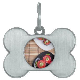 Top view of a plate of stewed eggplant pet tag