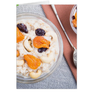 Top view of a portion of oatmeal with fruit card