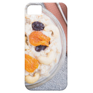 Top view of a portion of oatmeal with fruit case for the iPhone 5