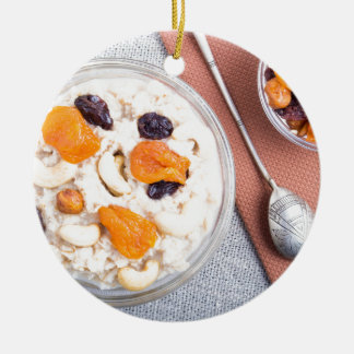 Top view of a portion of oatmeal with fruit ceramic ornament