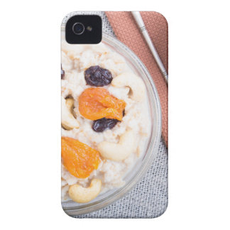Top view of a portion of oatmeal with fruit iPhone 4 cover