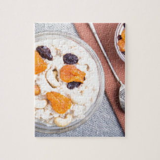 Top view of a portion of oatmeal with fruit jigsaw puzzle