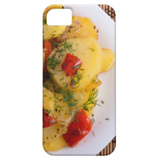 Top view of a vegetarian dish with organic vegetab iPhone 5 covers