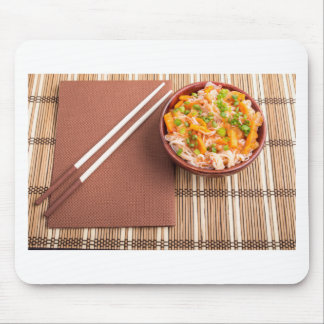 Top view of an Asian dish of rice noodle Mouse Pad
