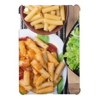 Top view of cooked rigatoni pasta with vegetables case for the iPad mini