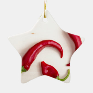 Top view of hot chili peppers ceramic star decoration