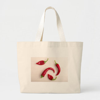 Top view of hot chili peppers large tote bag