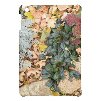 Top view of the autumn flowerbed iPad mini case