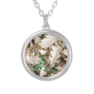 Top view of the fallen oak leaves silver plated necklace