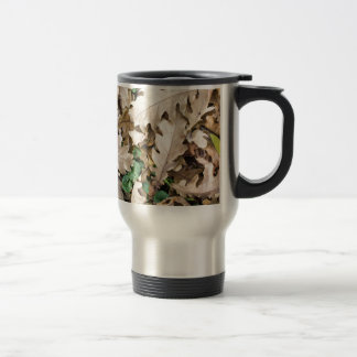 Top view of the fallen oak leaves travel mug