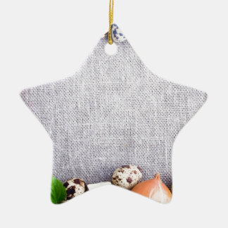 Top view of the food ingredients in the form ceramic ornament