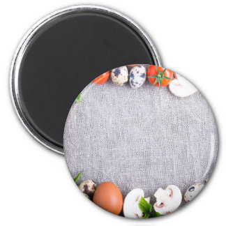 Top view of the food ingredients in the form magnet