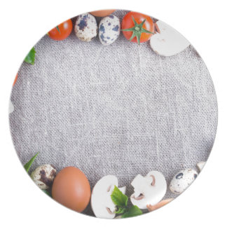 Top view of the food ingredients in the form plate