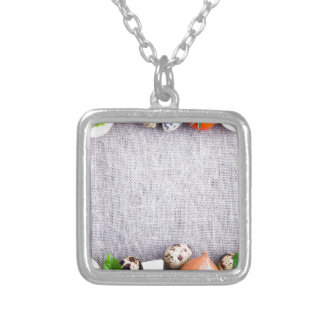 Top view of the food ingredients in the form silver plated necklace
