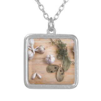 Top view of the garlic and dried spices silver plated necklace