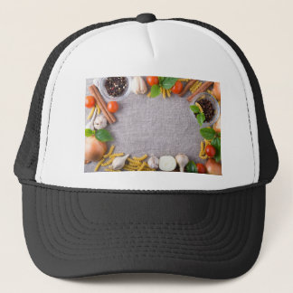 Top view of the ingredients for a meal trucker hat