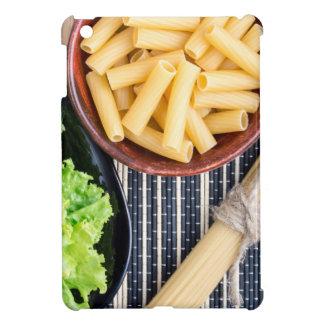 Top view of the spaghetti, pasta and lettuce iPad mini covers