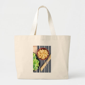 Top view of the spaghetti, pasta and lettuce large tote bag