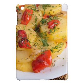 Top view of the vegetarian dish of organic potato iPad mini case