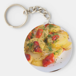 Top view of the vegetarian dish of organic potato key ring