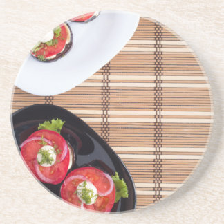 Top view of the vegetarian dishes stewed eggplant beverage coasters