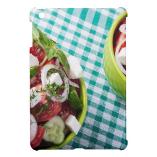 Top view of two bowls useful vegetarian meal close cover for the iPad mini