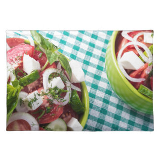 Top view of two bowls useful vegetarian meal close place mat
