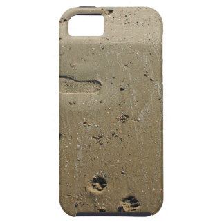 Top view of wet sand on the beach with tracks iPhone 5 case