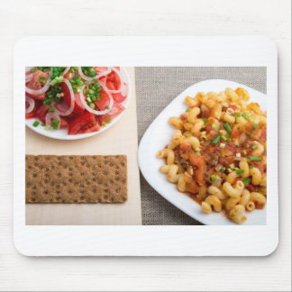 Top view on Cavatappi Pasta on textile background Mouse Pad
