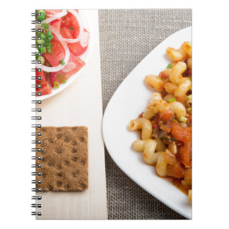 Top view on Cavatappi Pasta on textile background Notebook