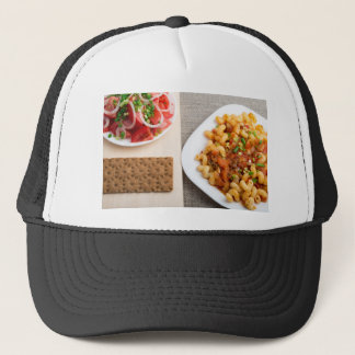 Top view on Cavatappi Pasta on textile background Trucker Hat