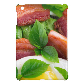 Top view on egg yolk, fried bacon and herbs cover for the iPad mini