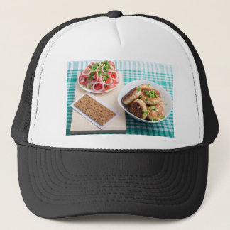 Top view on russian homemade lunch on a table trucker hat