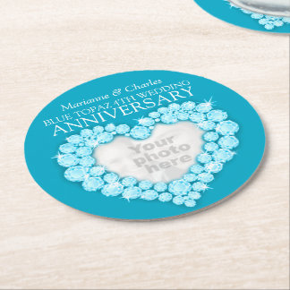 Topaz 4th wedding anniversary heart photo coasters